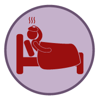 Figure in bed sick graphic