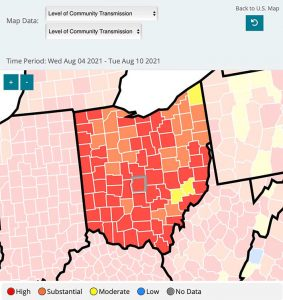 Screenshot of Franklin County, OH shown on the CDC's COVID-19 level of transmission map.